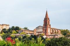 Castelnau d'Estretefonds kerk Stock Foto's