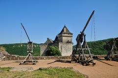 法国, Castelnaud美丽如画的城堡在多尔多涅省 库存照片