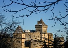 Castelnaud Medieval Castle, Dordogne, France. View of the medieval Castle of Castelnaud, in the region of Perigord, France Stock Photos