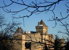 castelnaudslottdordogne medeltida france arkivfoton