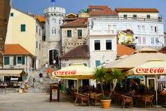 Castelnuovo è una città costiera nel Montenegro ha individuato all'en fotografie stock libere da diritti