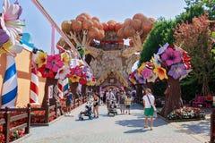 Castelnuovo del Garda, tree, Italy - Augusto 31 2016: Gardaland Theme Park in Castelnuovo Del Garda, Verona, Italy. Carousel; fun; amusement; attraction Stock Image