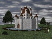 castelo 3D com fosso Fotografia de Stock Royalty Free