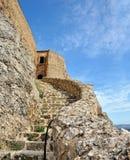Castelo arruinado velho na cidade de Morella, Spain. Fotos de Stock Royalty Free