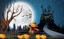 Castelo assustador com espantalho e abóboras na Lua cheia ilustração royalty free