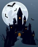 Castelo assustador do fantasma de Halloween Imagem de Stock