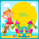Castelo Bouncy Menina alegre do resto do verão e seu cão Arrendamento Bouncy do castelo Foto de Stock Royalty Free