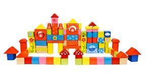 Castelo colorido feito dos blocos de madeira Imagens de Stock