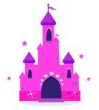 Castelo cor-de-rosa dos desenhos animados da princesa isolado no branco Fotos de Stock Royalty Free