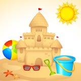 Castelo da areia com jogo de Sandpit ilustração stock