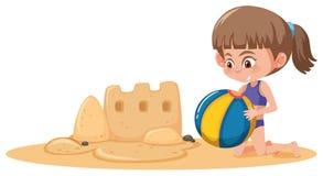 Castelo da areia da construção da menina ilustração royalty free