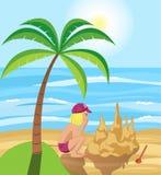 Castelo da areia pelo mar ilustração do vetor