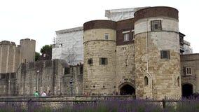 Castelo da torre de Londres, fortaleza, pessoa dos turistas que visita marcos britânicos vídeos de arquivo