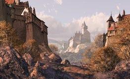 Castelo da vila em épocas medievais Fotos de Stock Royalty Free