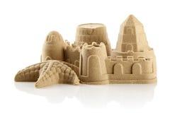 Castelo de areia na praia Foto de Stock