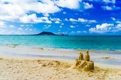 Castelo de areia na praia de Kailua Fotografia de Stock Royalty Free
