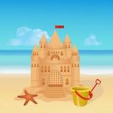 Castelo de areia na praia tropical ilustração royalty free