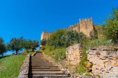 Castelo de Belver - Muralhas - Castle stock photos