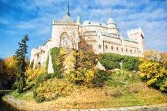 Castelo de Bojnice em Eslováquia, ilustração com lápis coloridos Imagem de Stock