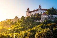 Castelo de Bratislava no capital da república eslovaca Imagens de Stock