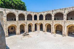 Castelo de cavaleiros de Templar no Rodes Fotografia de Stock