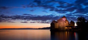 Castelo de Chillon, switzerland Montreaux, lago Geneve, um do castelo o mais visitado no su??o, atrai mais de 300.000 visitantes fotos de stock royalty free