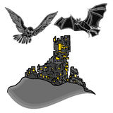 Castelo de Dia das Bruxas com vetor da coruja e do bastão Foto de Stock Royalty Free