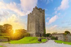 Castelo de Dysert O'Dea em Co. Clare no por do sol Foto de Stock Royalty Free