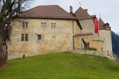 Castelo de Gruyeres no cantão de Fribourg em Gruyeres, Suíça fotos de stock