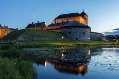Castelo de Häme em Hämeenlinna, Finlandia no crepúsculo imagens de stock