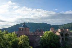 Castelo de Heidelberg no sol fotos de stock royalty free