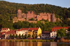 Castelo de Heidelberger no pôr-do-sol Foto de Stock