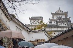 Castelo de Himeji no dia chuvoso Imagens de Stock Royalty Free