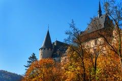 Castelo de Karlstein no tempo do outono Fotografia de Stock