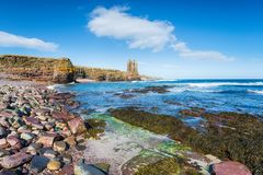 Castelo de Keiss em Escócia imagens de stock royalty free