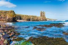 Castelo de Keiss em Escócia fotografia de stock royalty free