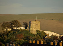 Castelo de Lewes no sol da noite Fotos de Stock Royalty Free