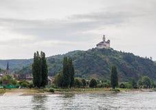 Castelo de Marksburg em Braubach no vale do Reno, Alemanha - local do patrimônio mundial do UNESCO Imagens de Stock