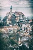 Castelo de Mikulov, Moravia do sul, filtro análogo fotografia de stock