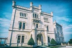 Castelo de Miramare perto de Trieste, filtro análogo imagens de stock