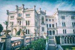 Castelo de Miramare perto de Trieste, filtro análogo imagem de stock royalty free