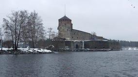 Castelo de Olavinlinna, tarde de março Savonlinna, Finlandia vídeos de arquivo