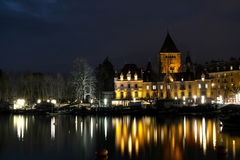 Castelo de Ouchy em Lausana, Switzerland Fotos de Stock