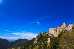 Castelo de pedra do cathar de Peyrepertuse em France Foto de Stock