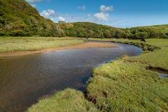 Castelo de Pennard na baía de três penhascos, Swansea, Reino Unido Imagens de Stock Royalty Free