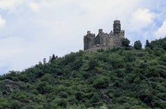 Castelo de Rhein River Valley perto de Koblenz, Alemanha foto de stock