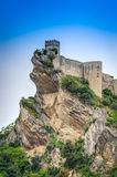 Castelo de Roccascalegna, Roccascalegna, Abruzzo, Itália Fotografia de Stock