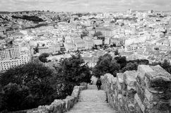 Castelo de São Jorge Lisboa or St. George's Castle Lisbon from the inter. This Moorish castle stands on the highest hill of Portugal. The former royal residence Royalty Free Stock Images