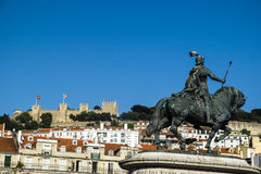 Castelo de Sao Jorge (Saint George Castle) overlooking Baixa qua Stock Photos
