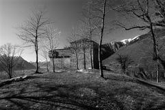 Castelo de Sasso Corbaro, preto e branco Foto de Stock Royalty Free